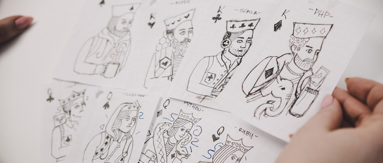 Sketching the kings for the Heroku cards